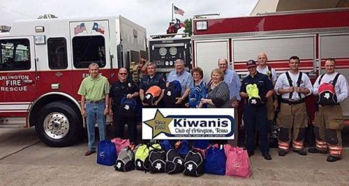 Kiwanians with the Fire Department
